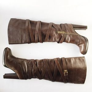 MICHAEL Michael Kors Shoes - Michael Kors High Heel Brown Leather Boots 6M
